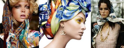 Схема завязывания платка на голову