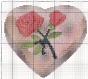 Схема вышивания крестиком - Валентинка - Роза любви