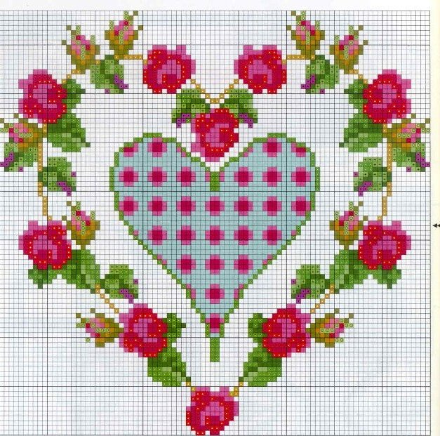 Схемы вышивки валентинок 10