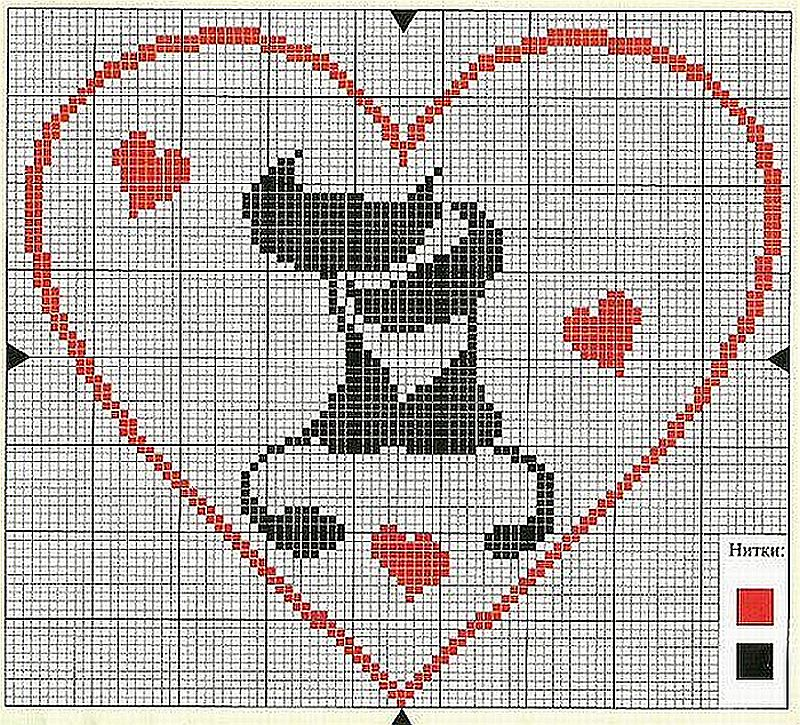 Схемы вышивки валентинок 13