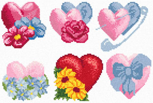 Схемы вышивки валентинок 16