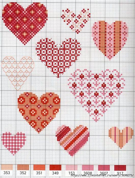 Схемы вышивки валентинок 19