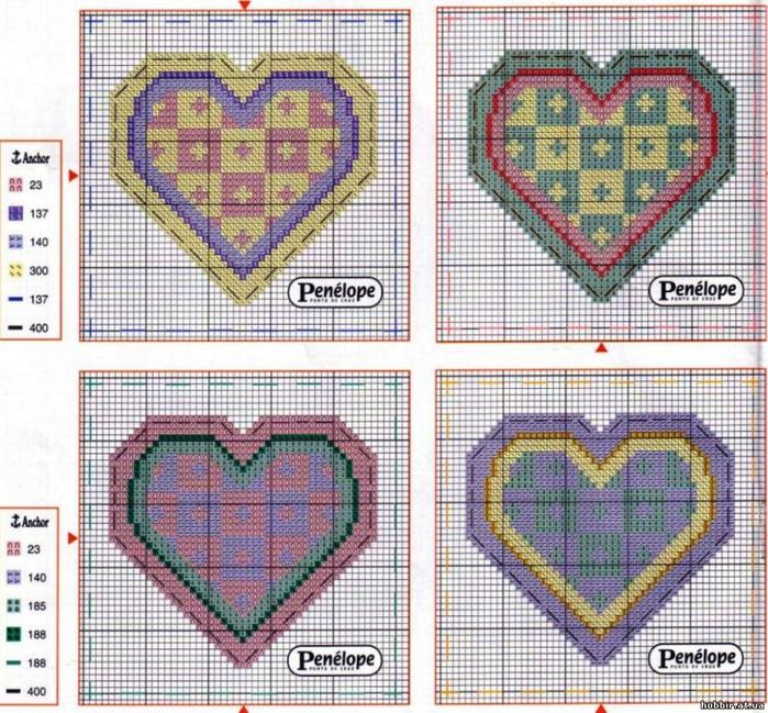 Схемы вышивки валентинок 22