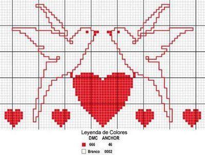 Схемы вышивки валентинок 4