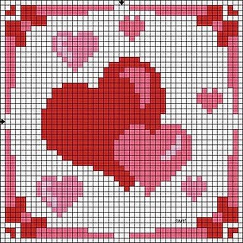 Схемы вышивки валентинок 6