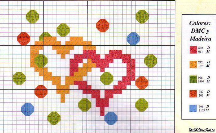 Схемы вышивки валентинок 7