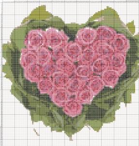 Схема вышивания крестиком - Валентинка - Букет роз