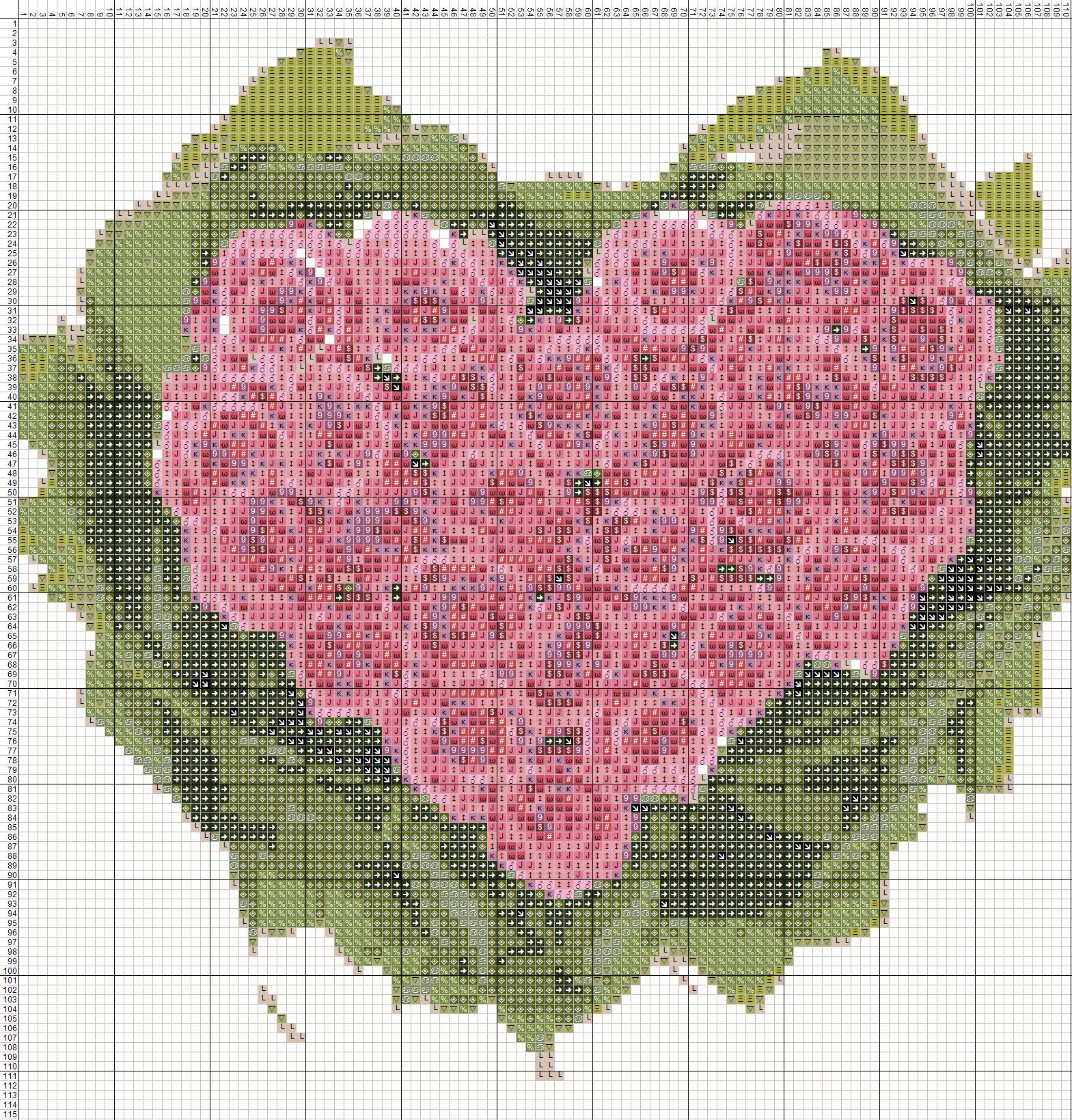 Схема вышивки крестом валентинок 223
