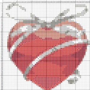 Схема вышивки крестом валентинок 548