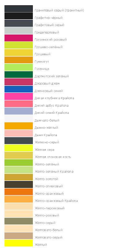 Названия оттенков и цветов