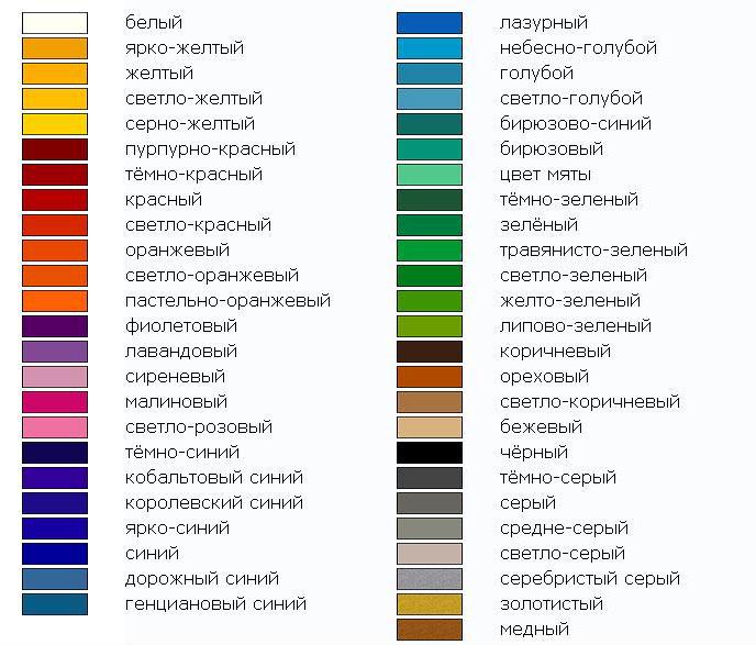 Название оттенков и цветов