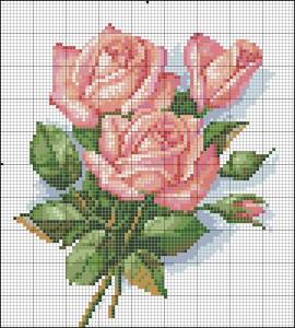 Схема вышивания крестом - букет роз