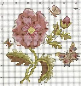 Схема вышивания крестом - букеты цветов