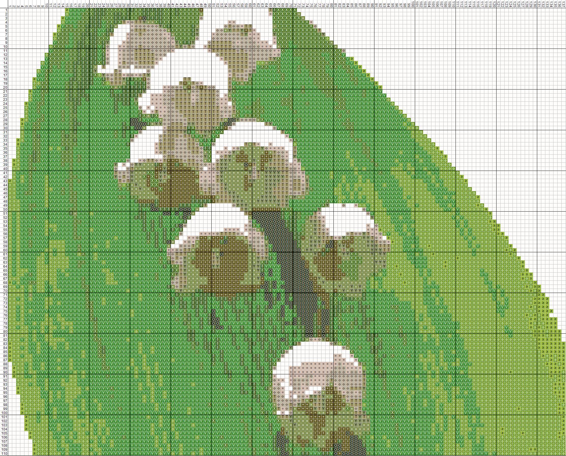 Схема вышивания крестом - букет ландышей