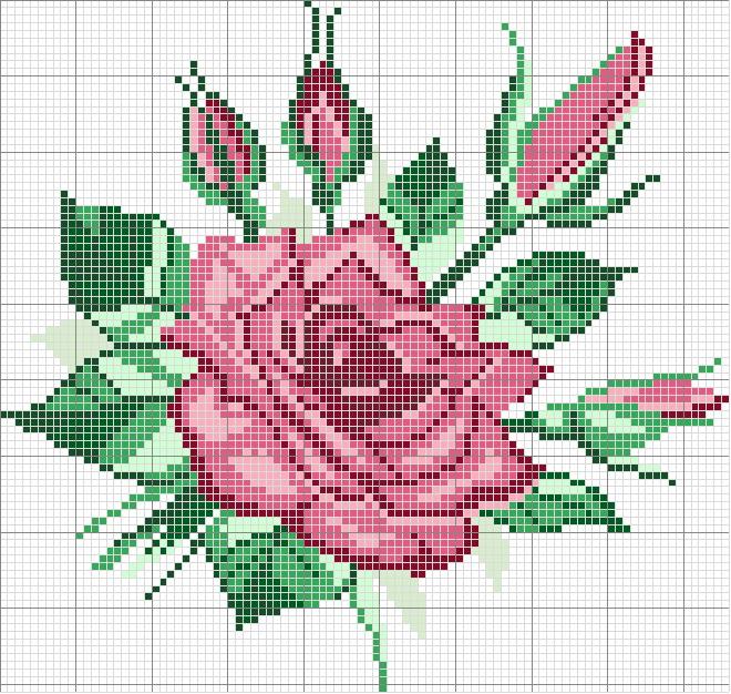 Схема вышивки цветов и