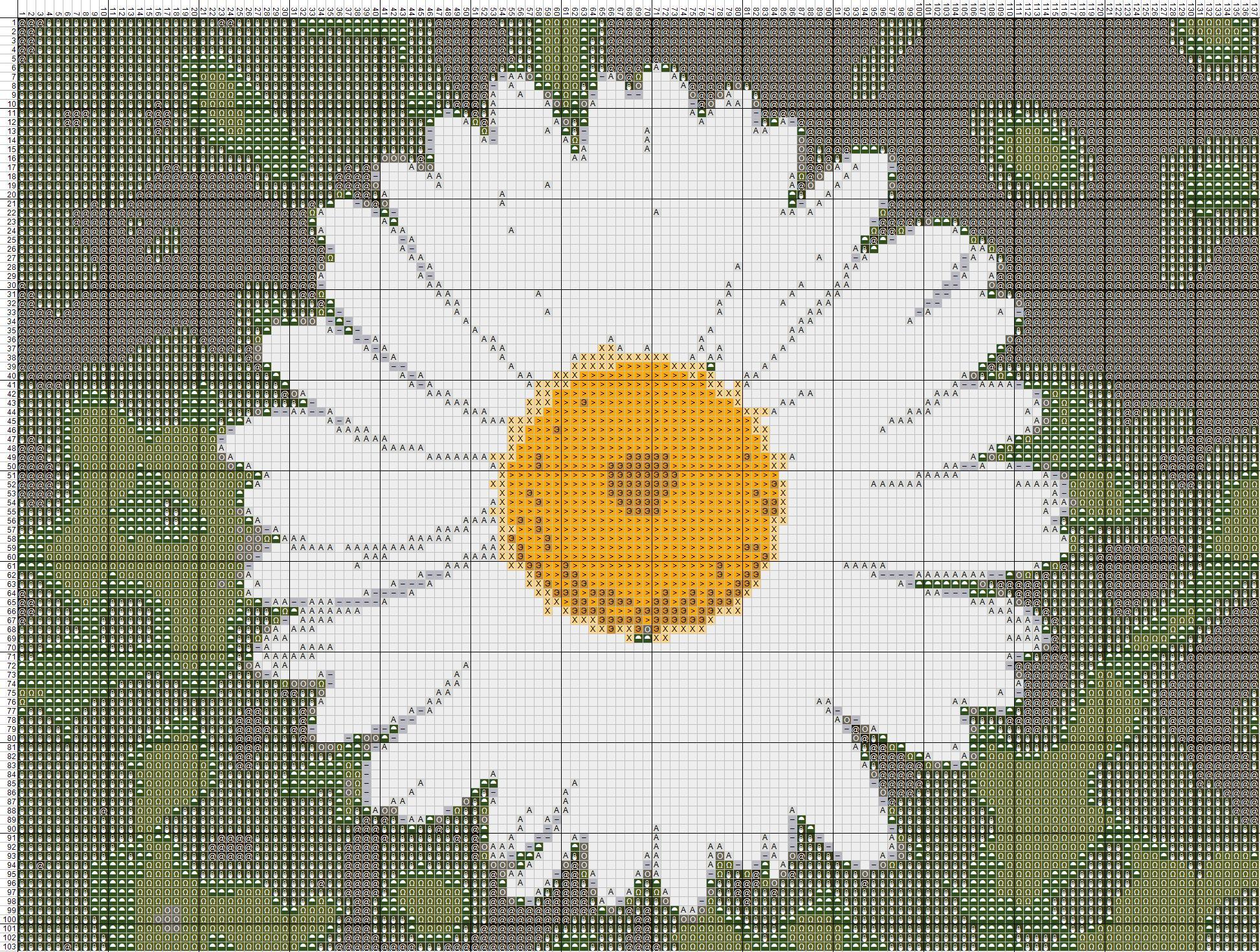Схема вышивания крестом - ромашка