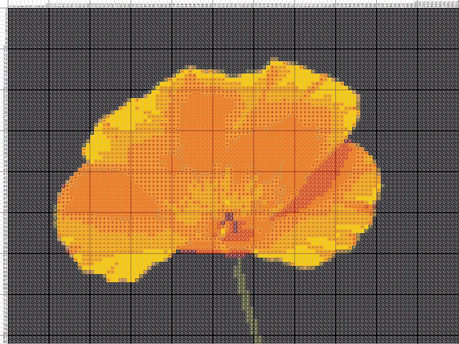 Схема вышивания крестом - оранжевый цветок