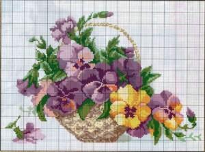 Схема вышивания крестом - корзиана фиалок