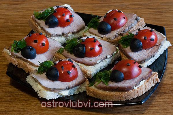 Бутерброды 'Божьи коровки'
