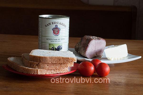 Бутерброды 'Божьи коровки' Ингредиенты