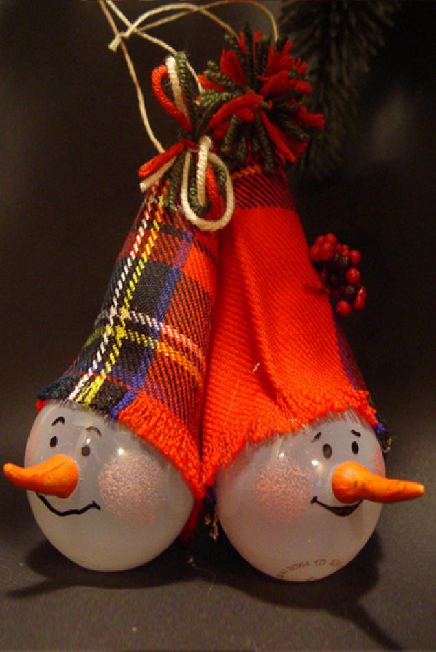 Новогодние игрушки из лампочек - фото 8