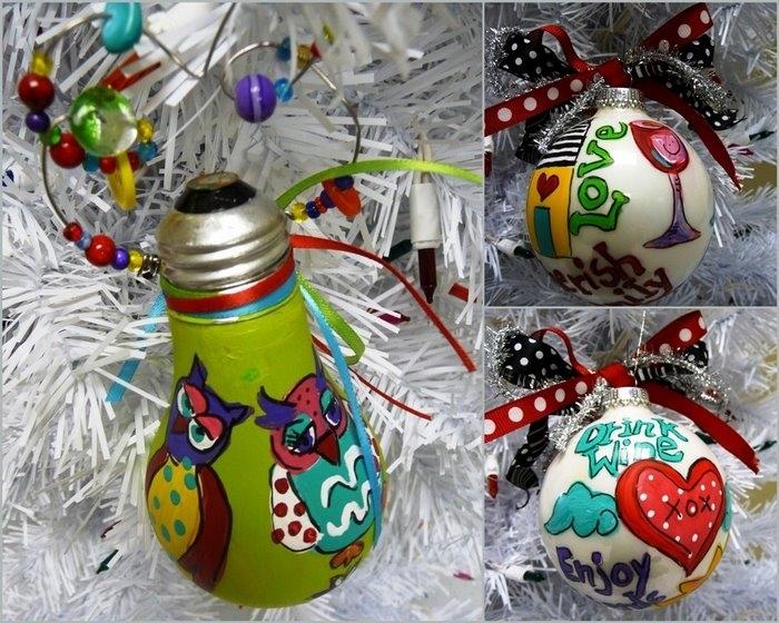 Новогодние игрушки из лампочек - фото 26