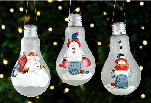 Новогодние игрушки из лампочек - фото 31