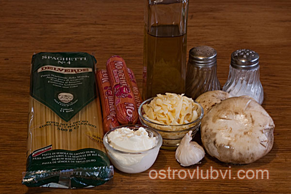 Спагетти с грибами и сосисками - Ингредиенты