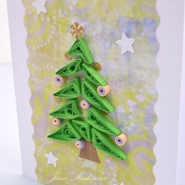 Новогодние открытки в технике квиллинг - фото 3