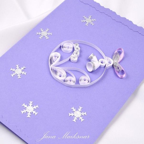 Новогодние открытки в технике квиллинг - фото 7