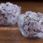 Салат из курицы, редиса и орехов