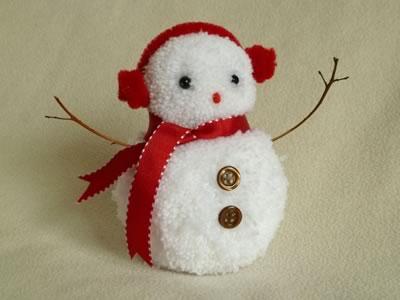 Снеговик из помпонов - фото 8