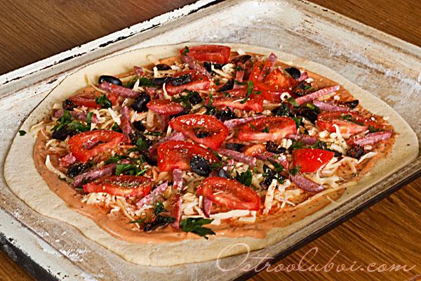 Итальянская пицца (тесто на манке) фото 11