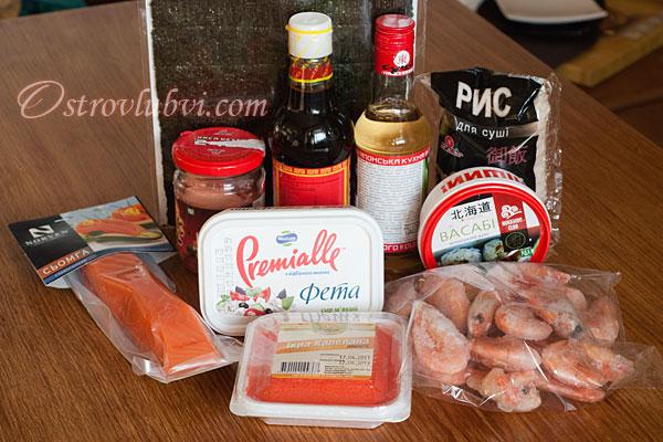 Ингредиенты для рецепту суши в домашних условиях