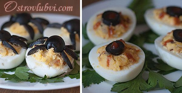Хэллоуинские фаршированные яйца