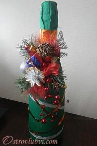 Новогодний декор бутылки шампанского - фото 2
