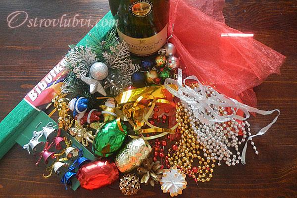Новогодний декор бутылки шампанского - фото 3