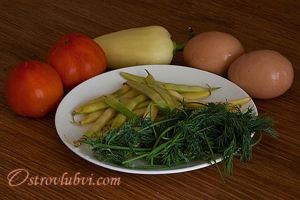 Яйца с овощами Ингредиенты